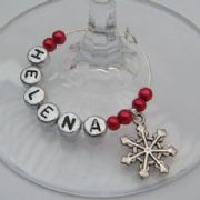 Snowflake Personalised Wine Glass Charm